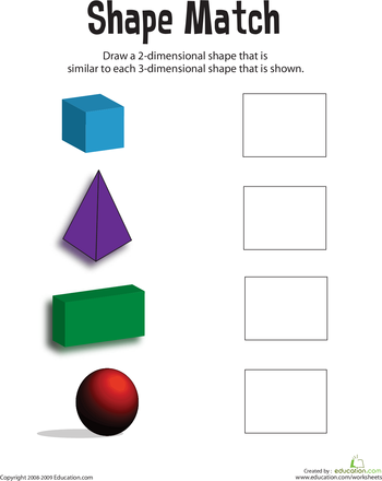 Matching Shapes 3d To 2d Worksheet Education Com First Grade Math Worksheets Geometry Worksheets Shapes Worksheets
