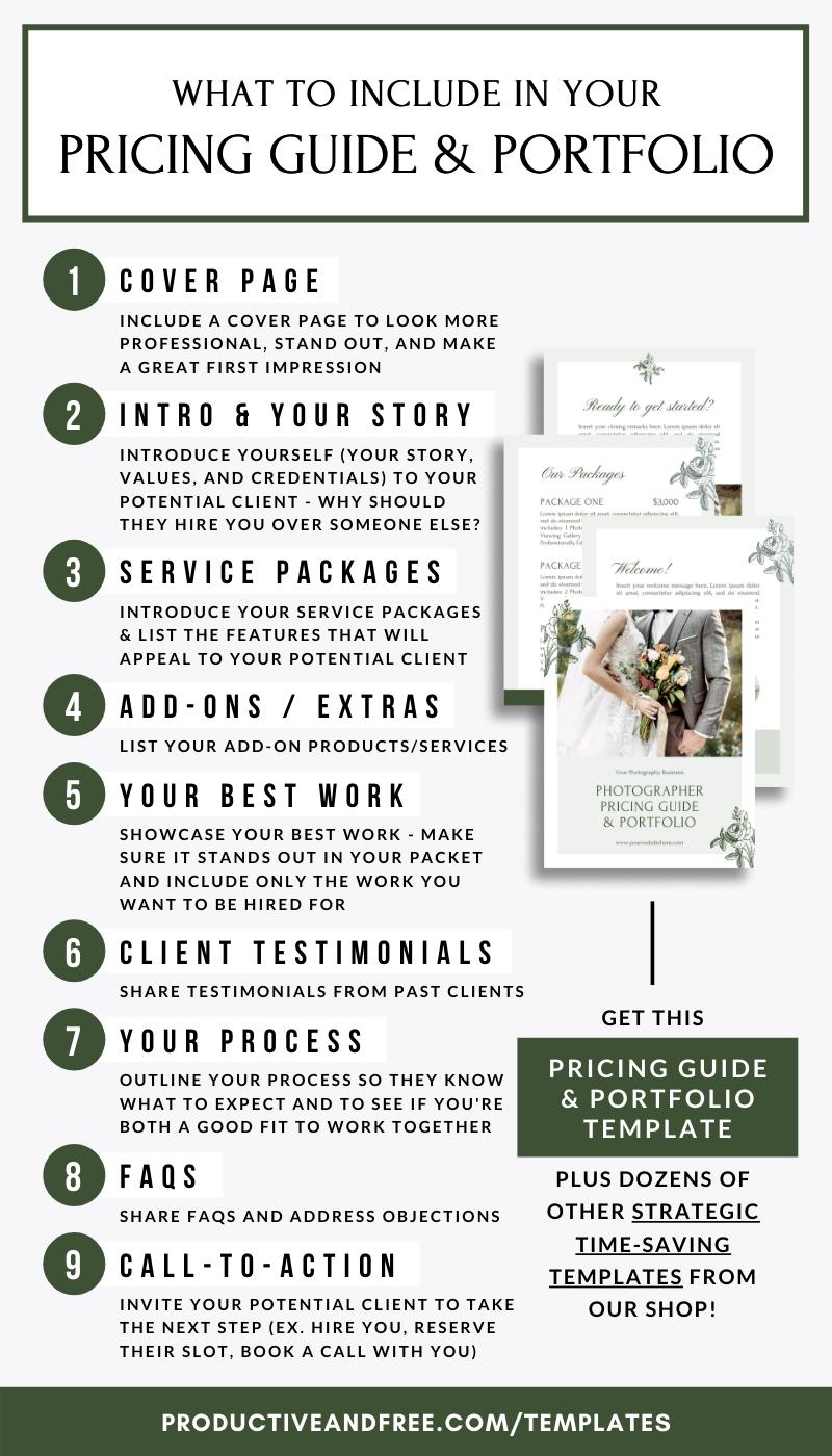 Photographer Pricing Guide And Portfolio Template Productive And Free Photographer Pricing Guide Pricing Guides Portfolio Templates