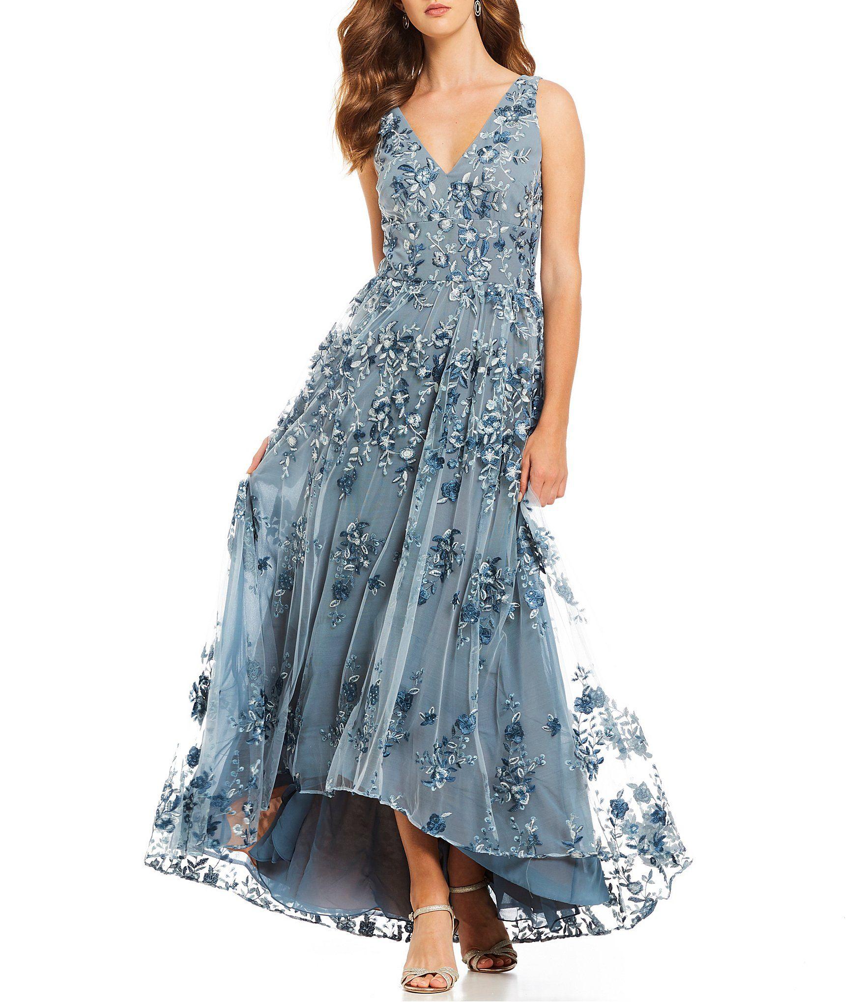 Shop For David Meister 3 D Fleurette V Neck Hi Lo Gown At Dillards Com Visit Dillards Com T Formal Dresses For Women Women Wedding Guest Dresses Gowns Dresses,Short Royal Blue Dress For Wedding