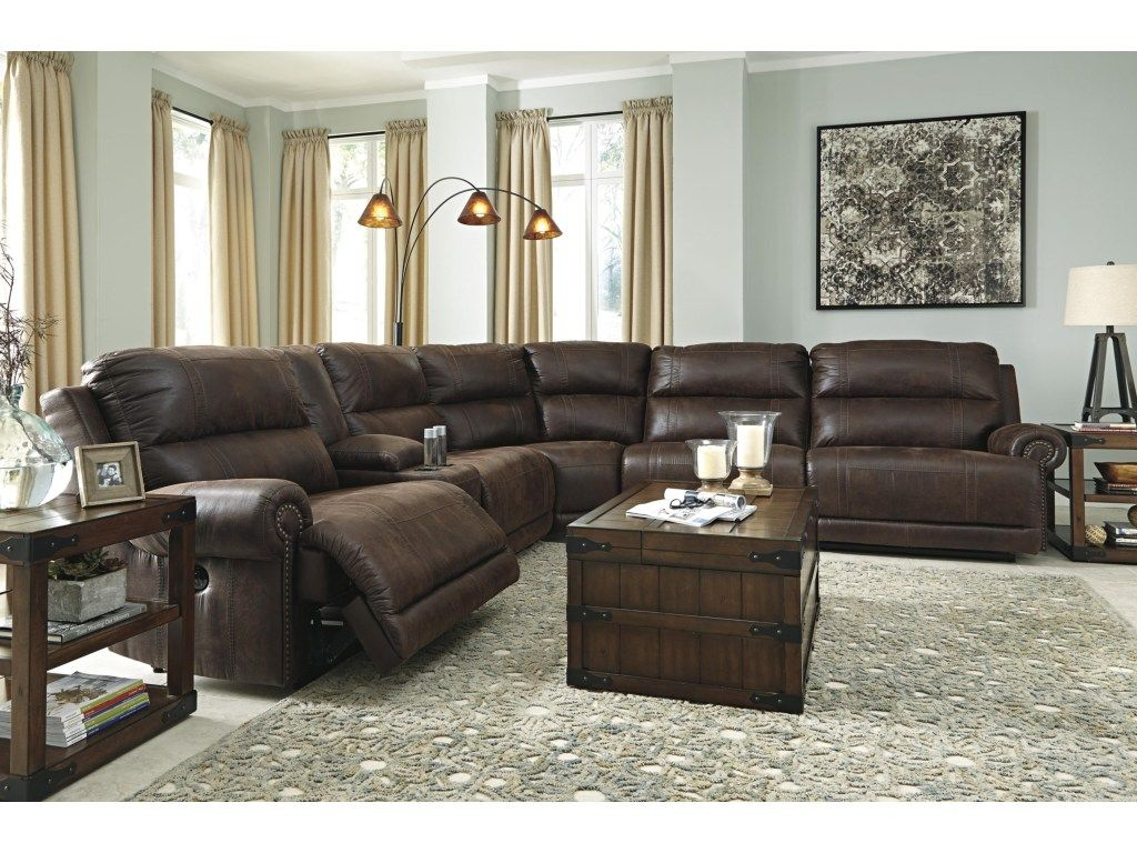 Luttrell 6 Piece Reclining Sectional With Console Armless