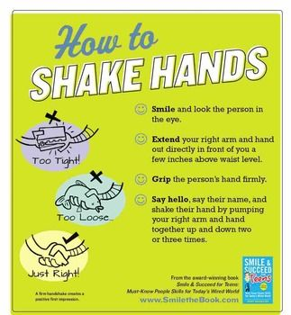 Social Skills Poster Manners How To Shake Hands Social Skills