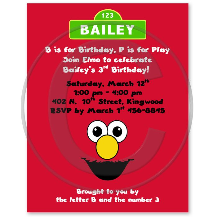 Elmo Inspired Birthday Party Invitations, Sesame Street Party ...