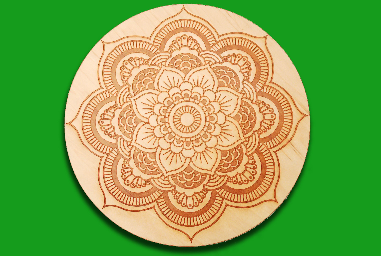 Flower mandala wall art or lazy susan engraved wood home