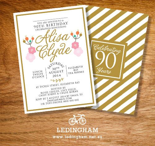 Any Age 40th 50th 80th 90th Birthday Invitations Personalised DIY Printables
