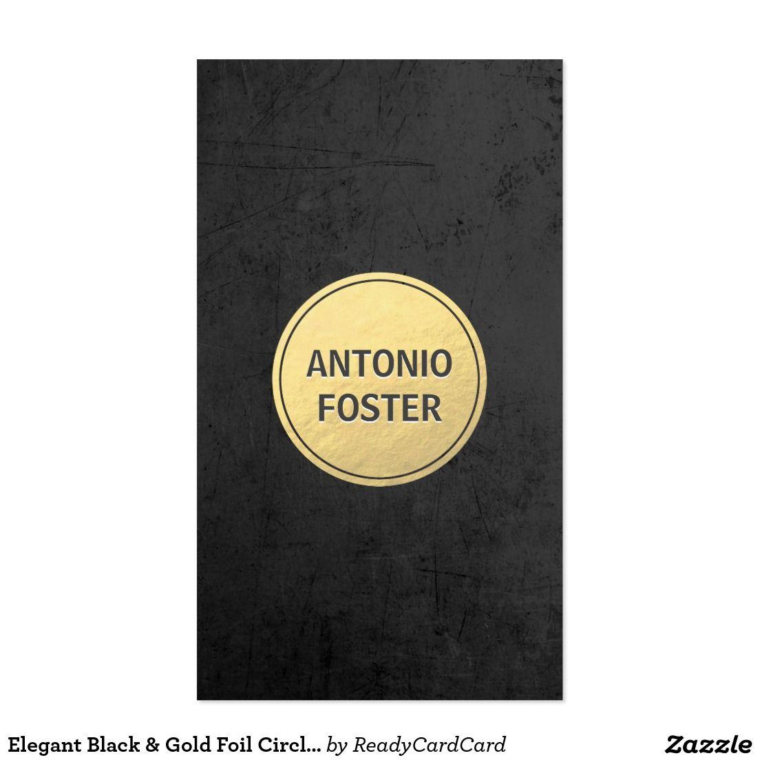 Elegant Black Gold Foil Circle Interior Designer Business Card