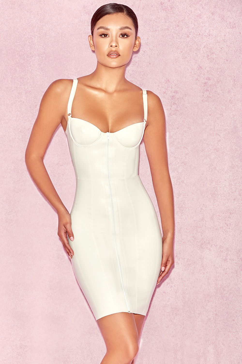7716210cd3 Clothing : Bodycon Dresses : 'Lexii' Off White Bustier Latex Dress ...