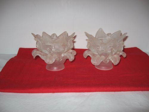 2-Vintage-French-3-Tier-Frosted-Satin-Glass-Rose-Flower-Lamp-Shades-Globes