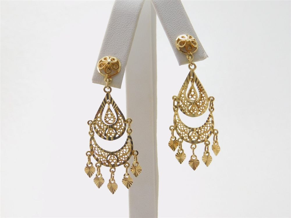 Art Nouveau Filigree Style Yellow 2 Chandelier 14k Gold Earrings Ja0360