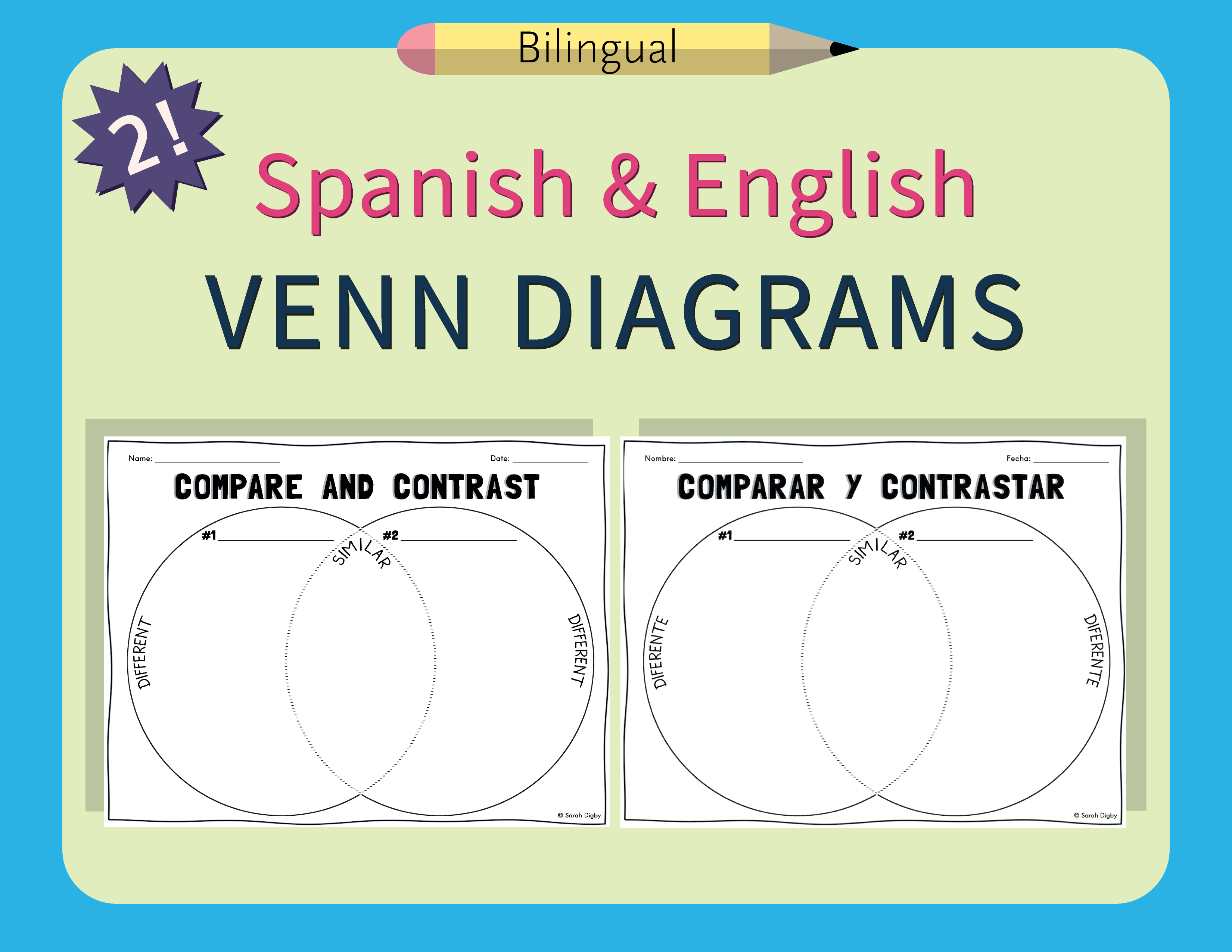 Spanish Amp English Venn Diagram Compare And Contrast