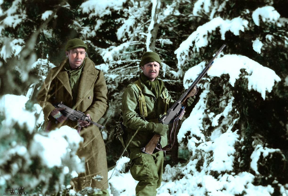 'The Siege of Bastogne' Pvt. Alvin T. Quimby (31178970) of Claremont, NH and Sgt. Duane L. Tedrick (17076815), Illinois both from Company 'D', 506 PIR, 101st Airborne in Bastogne January 1945.