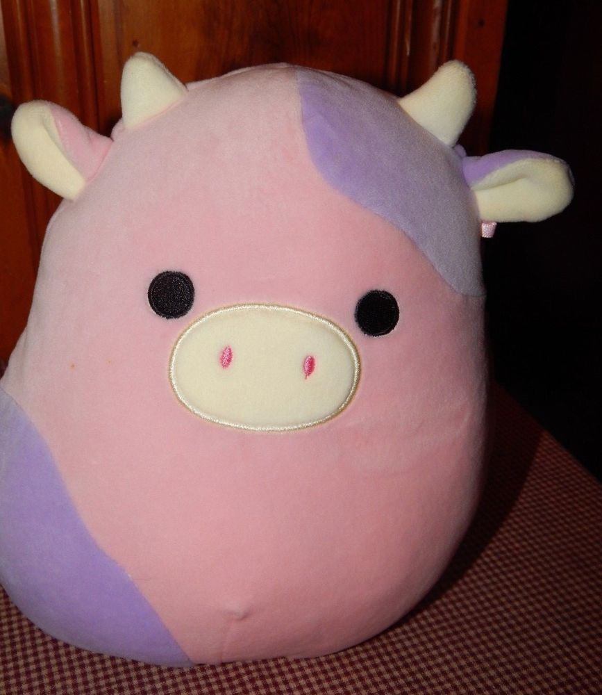 Squishmallows Pink Purple Patty The Cow 9 5 Soft And Squishy Euc Kellytoy Cute Stuffed Animals Baby Plush Pink Cow