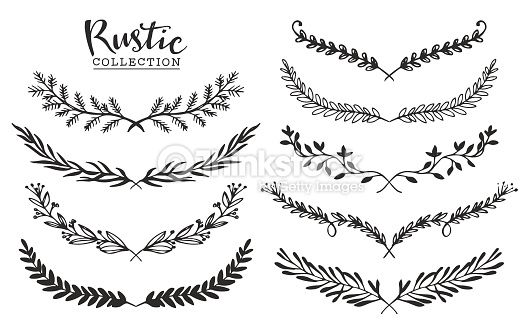 Vector Art Vintage Set Of Hand Drawn Rustic Laurels Floral Vector