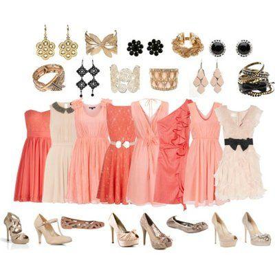 peach dress matching shoes