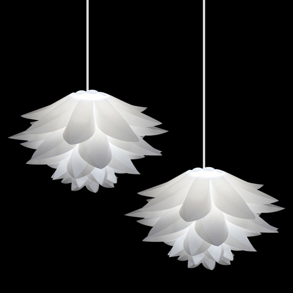 2 pcs excelvan ceiling pendant diy iq jigsaw puzzle white lotus 2 pcs excelvan ceiling pendant diy iq jigsaw puzzle white lotus flower lamp shade kit for mozeypictures Image collections