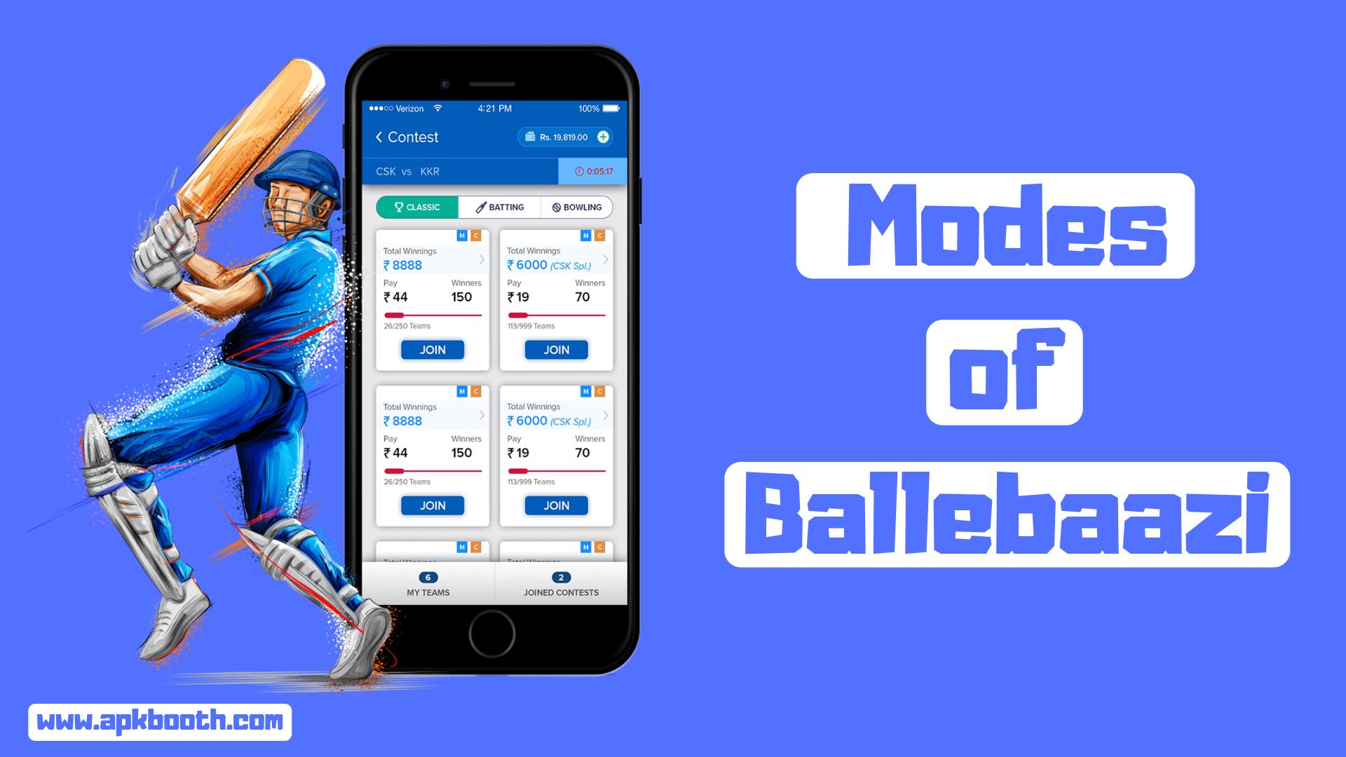 Ballebaazi Cricket match, Big money, Play online
