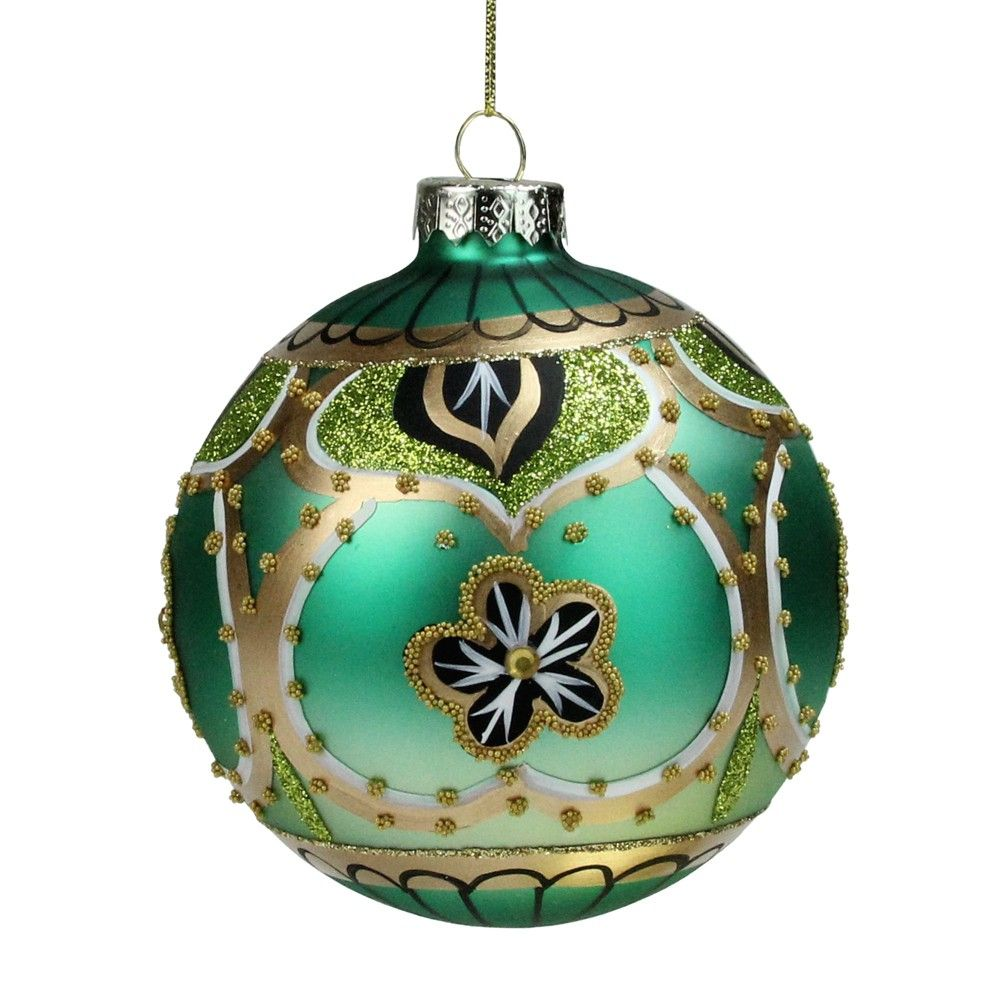 Northlight 4 Green Gold And Black Floral Bead And Jewel Glass Ball Christmas Ornament Glass Ball Ornaments Christmas Ornaments Ornaments