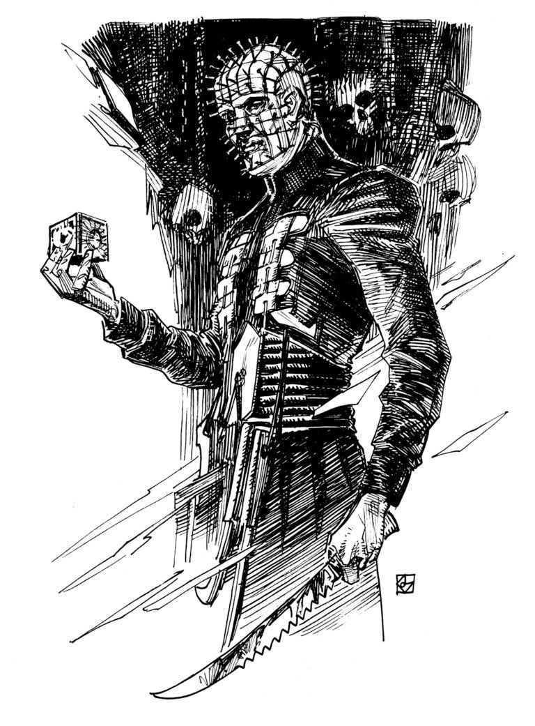 pinhead from hellraiser by deankotz horror icons inktober wrapping dean science fiction [ 768 x 1041 Pixel ]