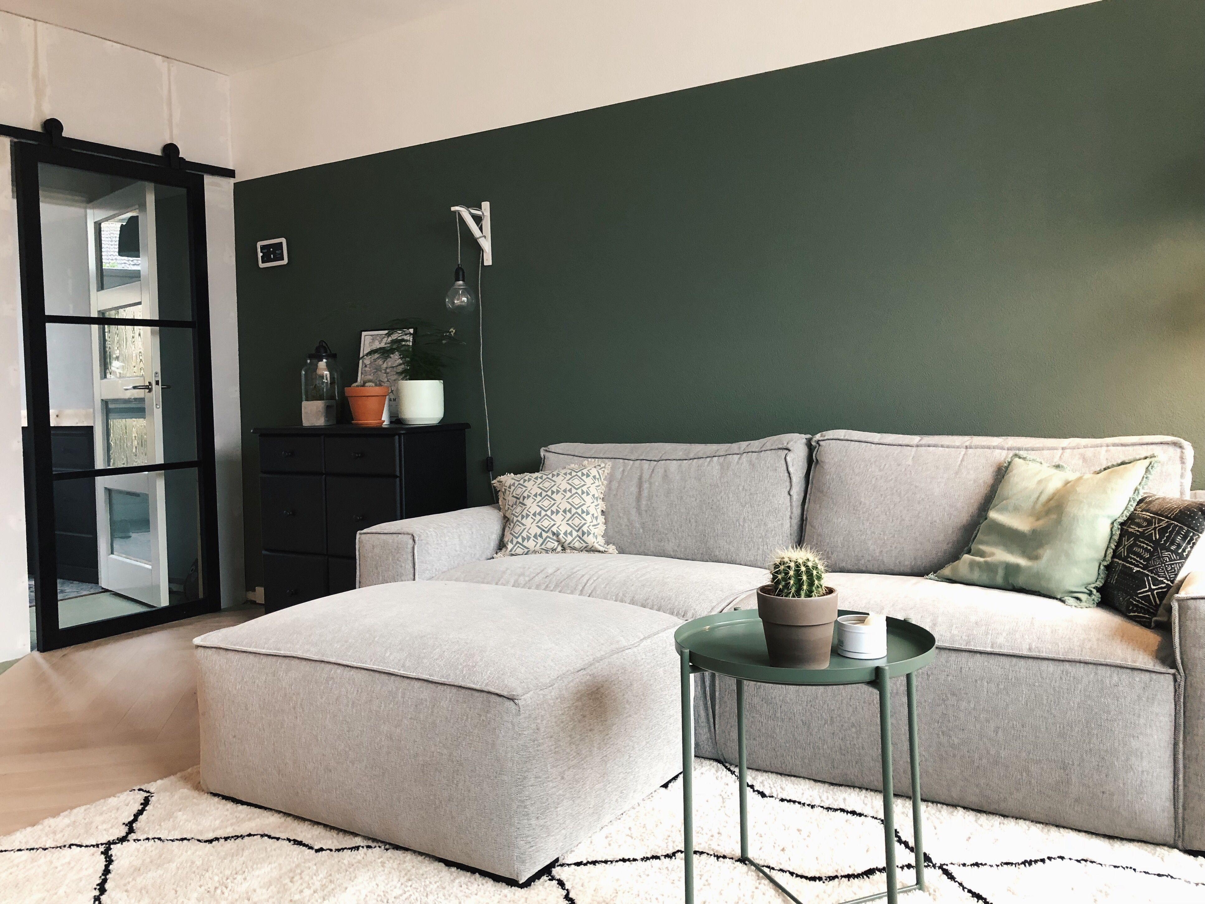 Houten schuifdeur vergelijkbaar met staal groene muur