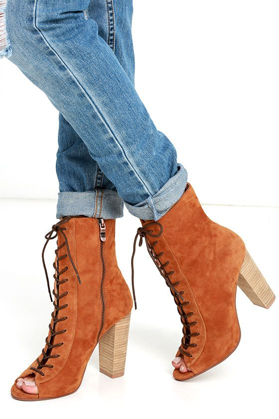 Chinese Laundry Lawless - Tan Lace-Up Booties - Suede Lace-Up Booties
