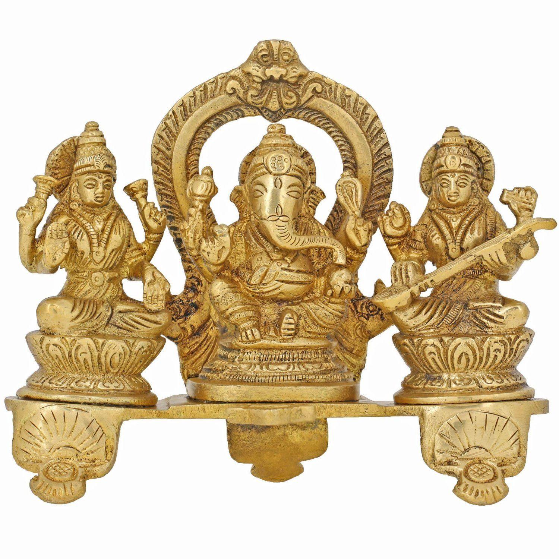 Handmade Indian Brass Ganesha, Lakshmi & Saraswati Statue
