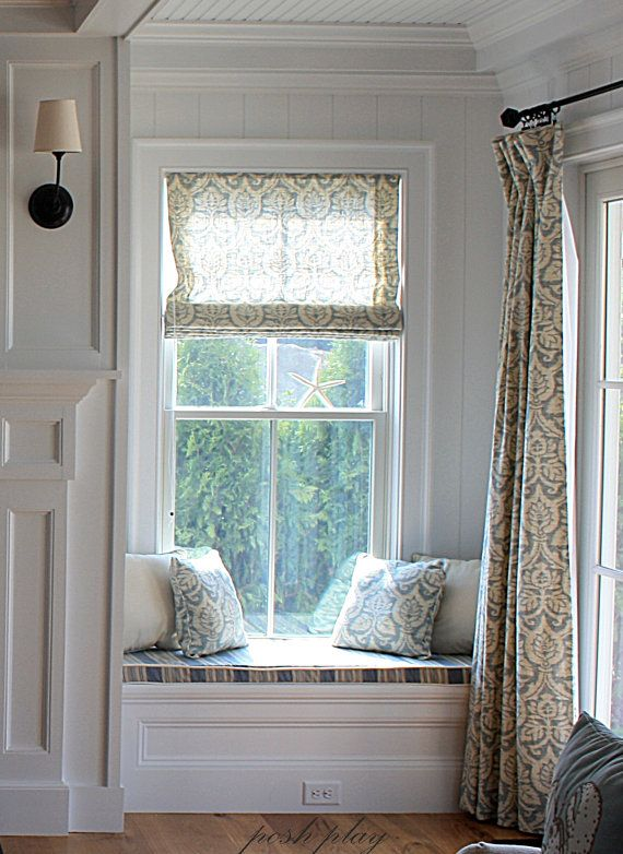 Window treatments curtains and window seat with for Window seat curtains