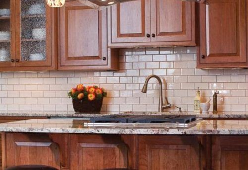 Examples Of Kitchen Backsplashes White Subway Tile Kitchen