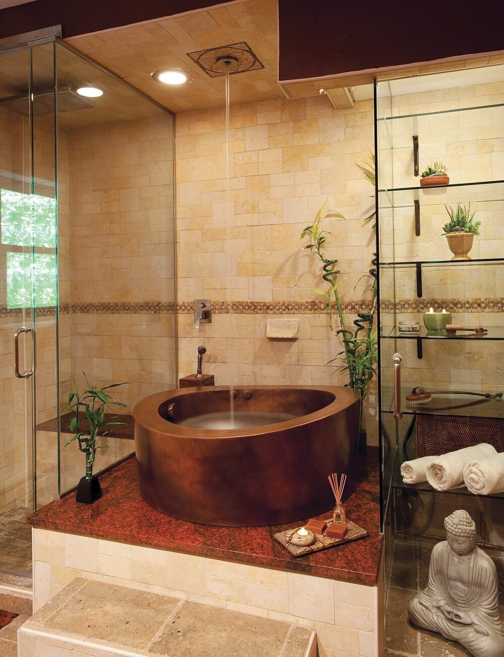 Copper Circular Japanese Whirlpool Bath with Partial Skirt 42\