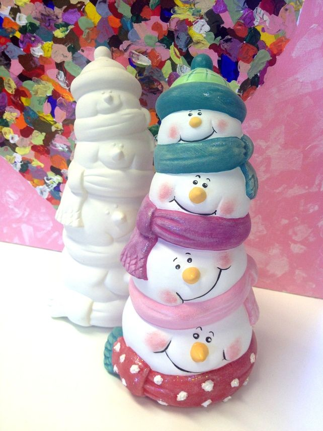 Christmas Ceramic Snowman Santa Stack Decoration Holiday Pottery Christmas Clay Paint Your Own Pottery