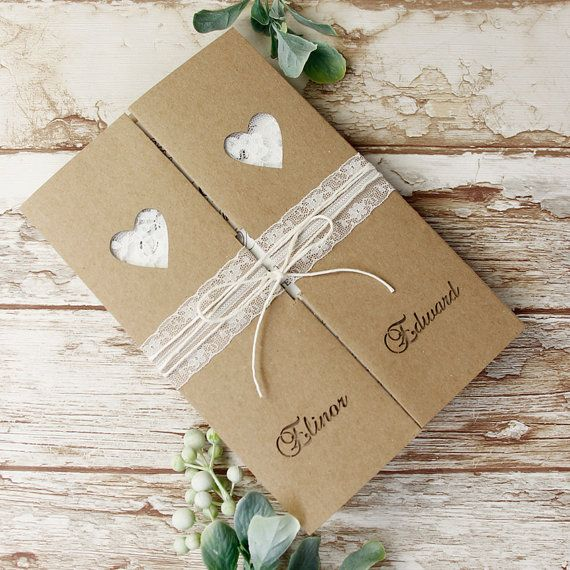 Rustic Boho Kraft Eco Heart Laser Cut Delicate Lace Heart Gatefold Wedding Invitation With Envelopes and Personalisation
