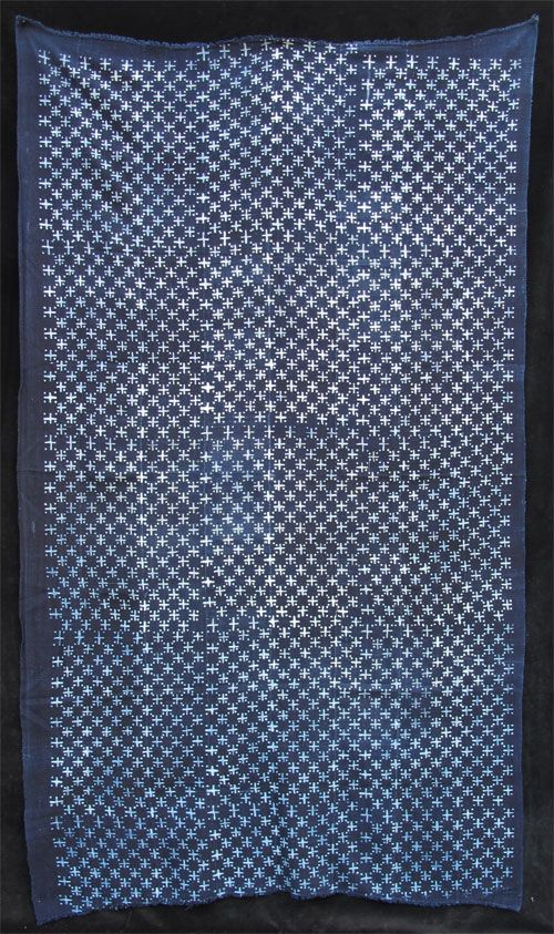 Africa   Strip-weave cotton fabric resist-dyed with natural indigo dye   Bamana people, Mali