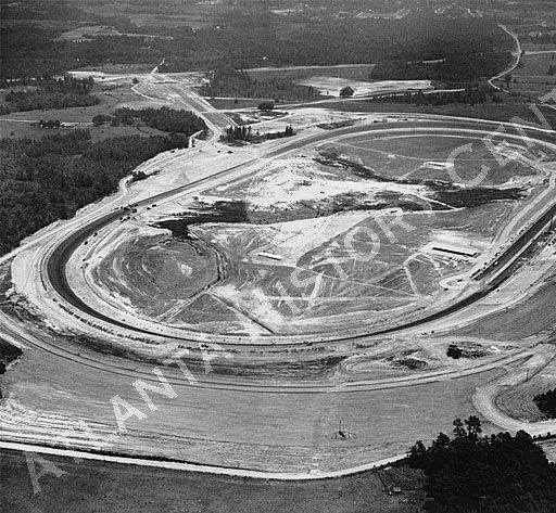 Aerial view of the Atlanta International Raceway (now Atlanta Motor Speedway) under construction in