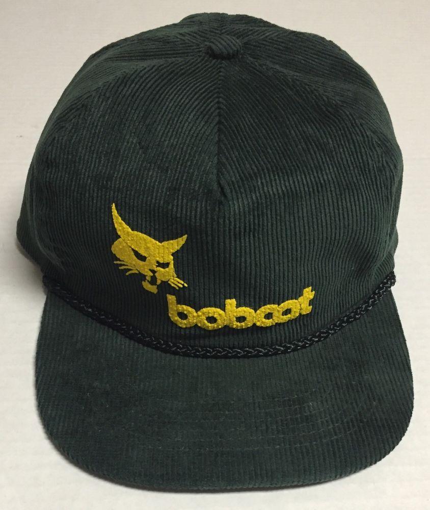 5331693b54a Vtg Bobcat Company Zipback Hat Equipment West Fargo North Dakota ND Green  Yellow…