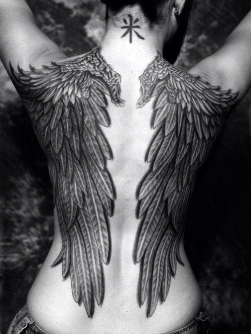 2da9fff395ec8 Angel Wings Tattoo, Back a Tattoo, Black & White Tattoo, Women's Tattoo