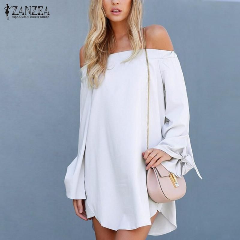 a97a0e0eb402 ZANZEA Mini Short Dress Off Shoulder Slash Neck Long Bowknot Sleeve Tops  Casual Loose Solid Vestidos