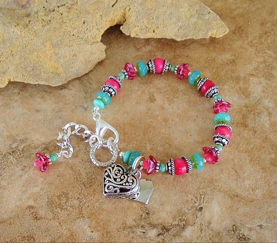 Boho Chic Bracelet Raspberry Pink and Turquoise by BohoStyleMe