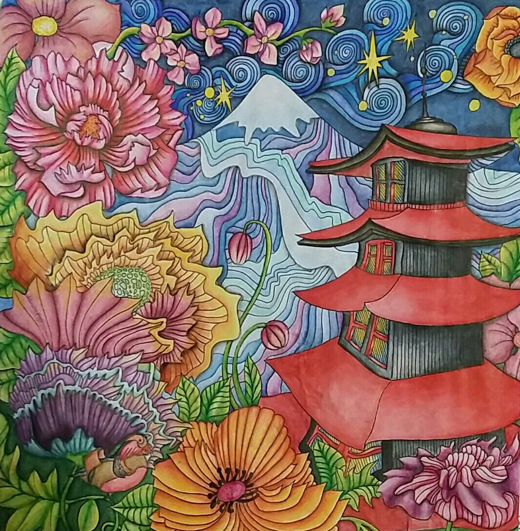 The Magical City Adult Coloring Book Mount Fugi Page Colored By Dayna