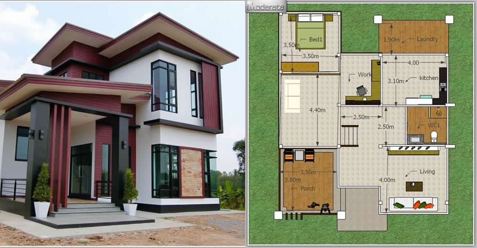 Modern 3 Bedroom Single Detached House Two Storey House Plans