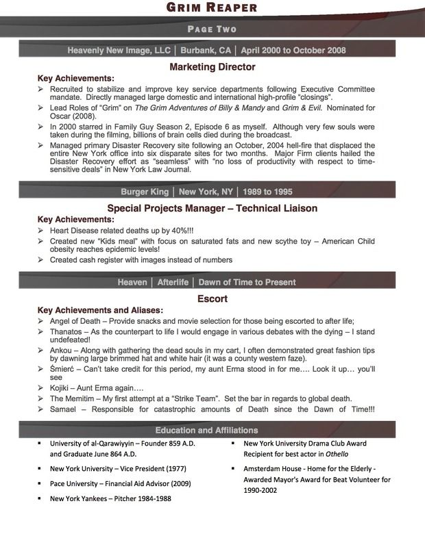 The Grim Reaper Resume Part II by Amber Nicole Elie Pierre - affiliations on resume