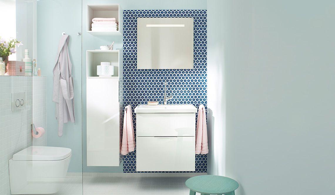 burgbad eqio Badezimmerschrank und Badspiegel für urbane