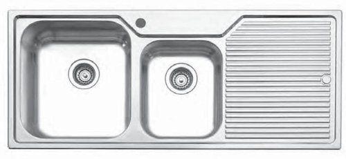 Oliveri Double Board Undermount Kitchen Sink W/ Right Drain Board Drainboard  Series Stainless Steel
