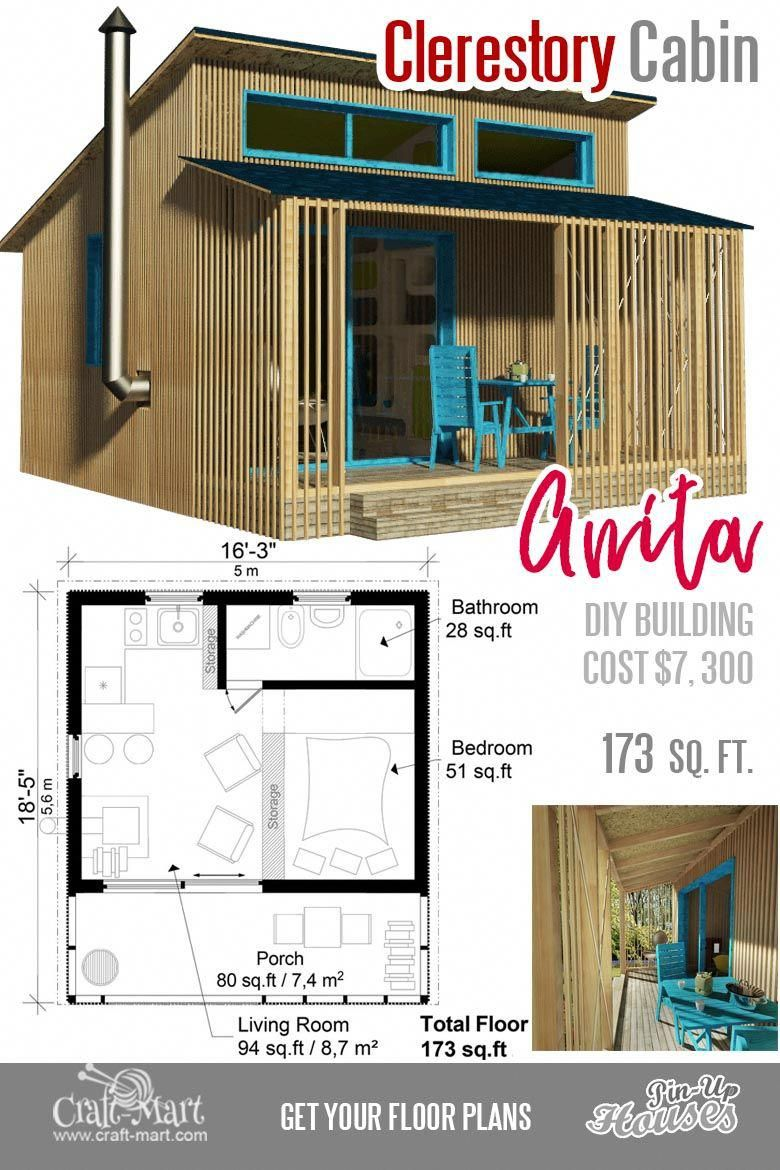 Small cabin plans for Anita. This small cabin is a good choice for a  vacation home.#tinyhouse #boat… | Small cabin plans, Cute small houses, Small  house floor plans