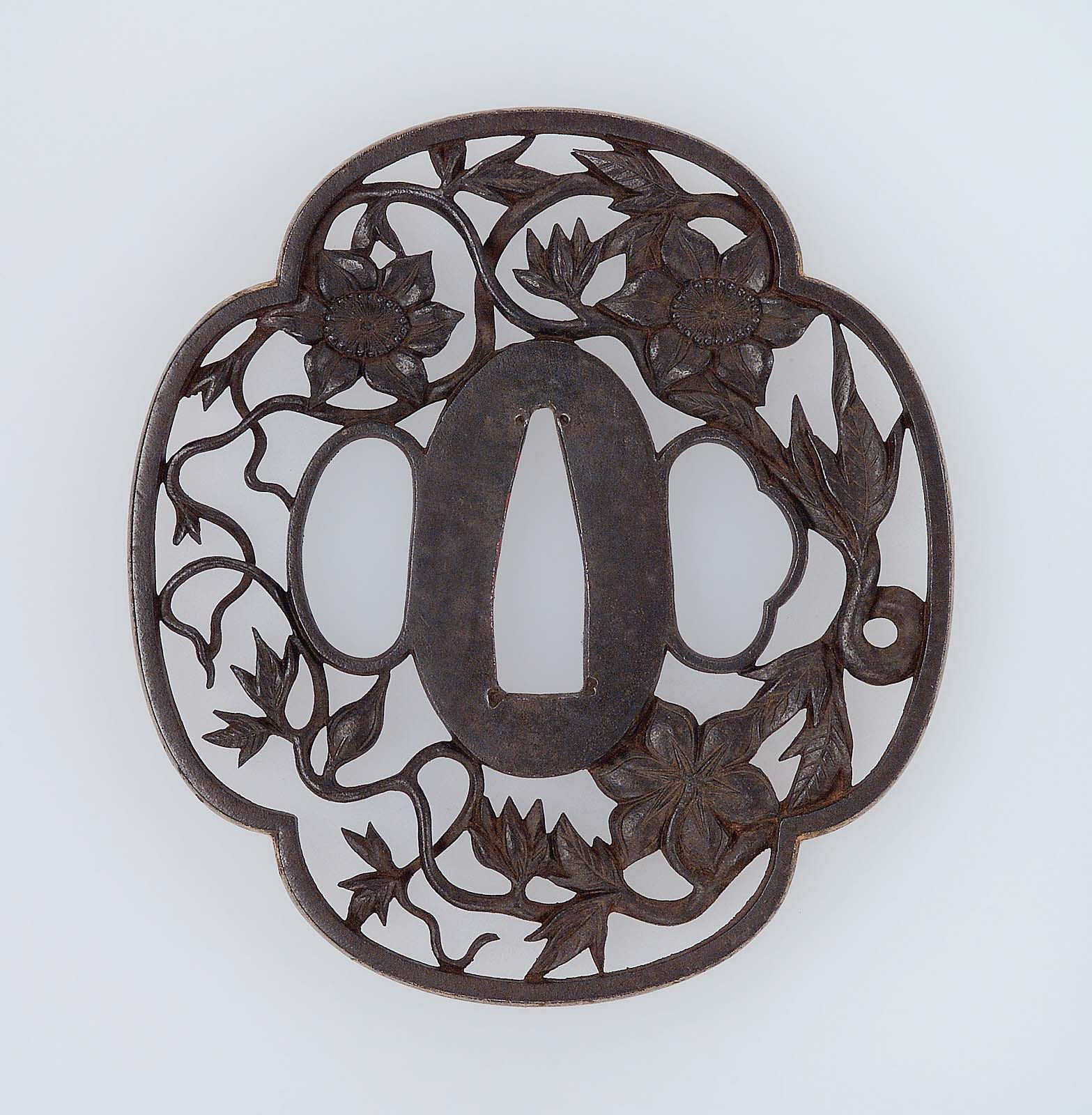Tsuba with design of clematis   Museum of Fine Arts, Boston