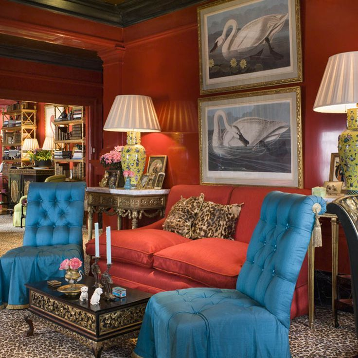 Turquoise Tufted Slipper Chairs Red Walls And Couch
