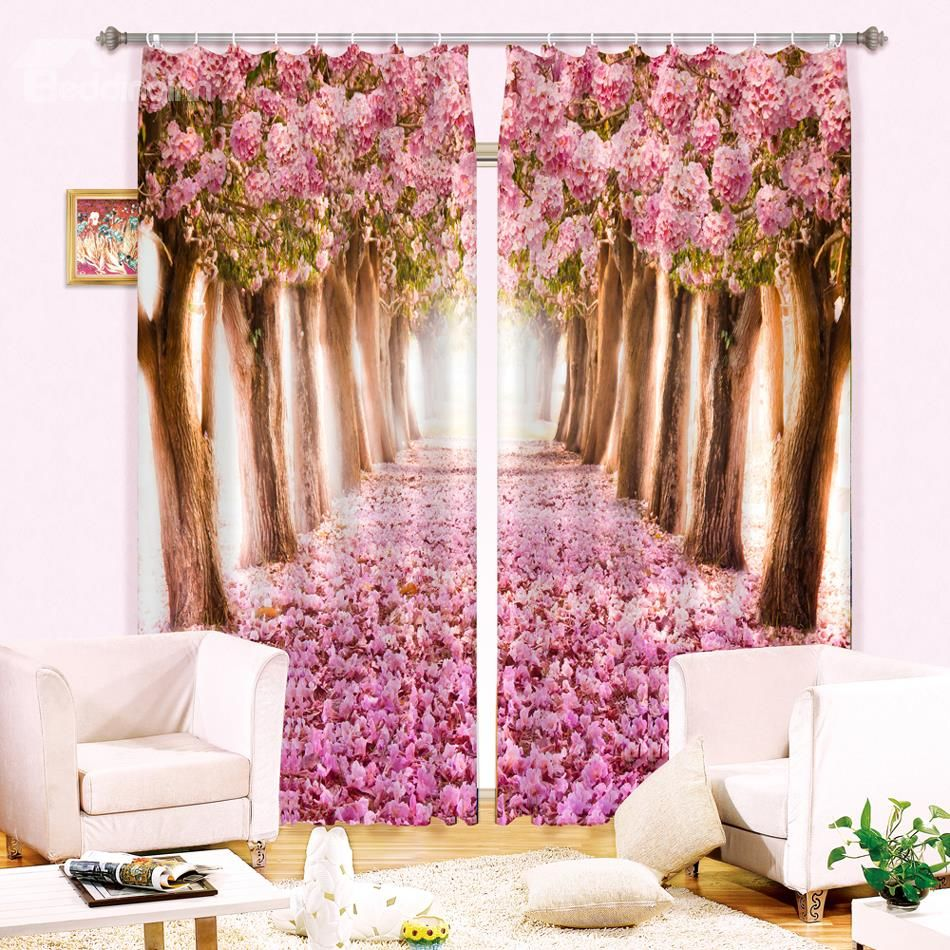 Butterflies And Flowers 3d Painting Blackout Curtains Office Bedding Room Living Room Sunshade Window Curtain Bedding Set Beautiful In Colour Curtains