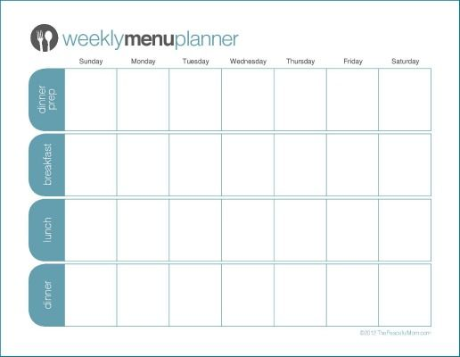 Click to Print TPM One Week Menu Planner Menu planners, Weekly