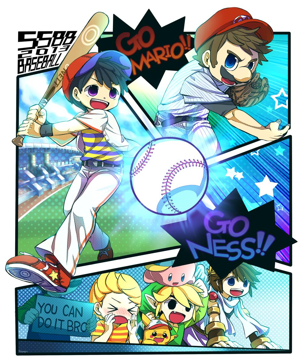 88fd5b99 Super Smash Bros Baseball! With Ness, Lucas, Toon Link, Luigi, Kirby, Mario,  Pit and Pikachu.
