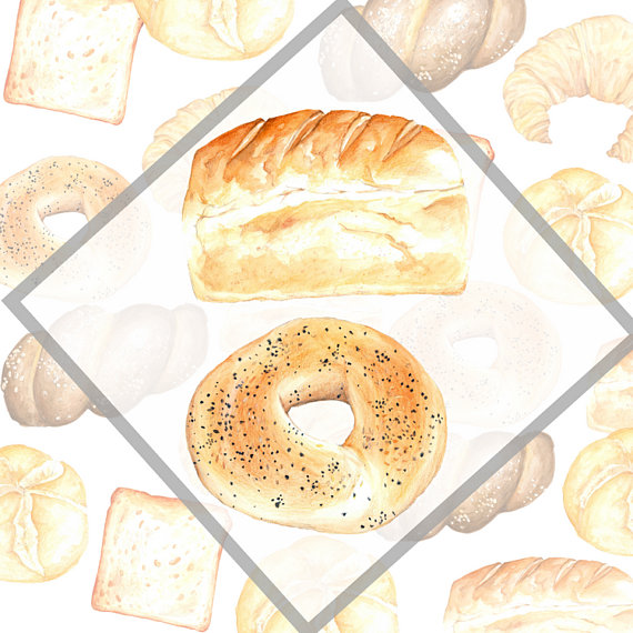 Bakery Clip Arts Bakery Elements Watercolor Bakery Collection Bread Icon Commercial Use Waterco In 2019 Bread Icon Bread Arts Bakery
