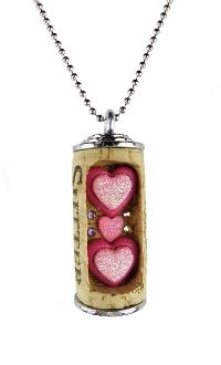 Pink Glittery Hearts...Wine Cork Necklace.  www.corkdazzle.com