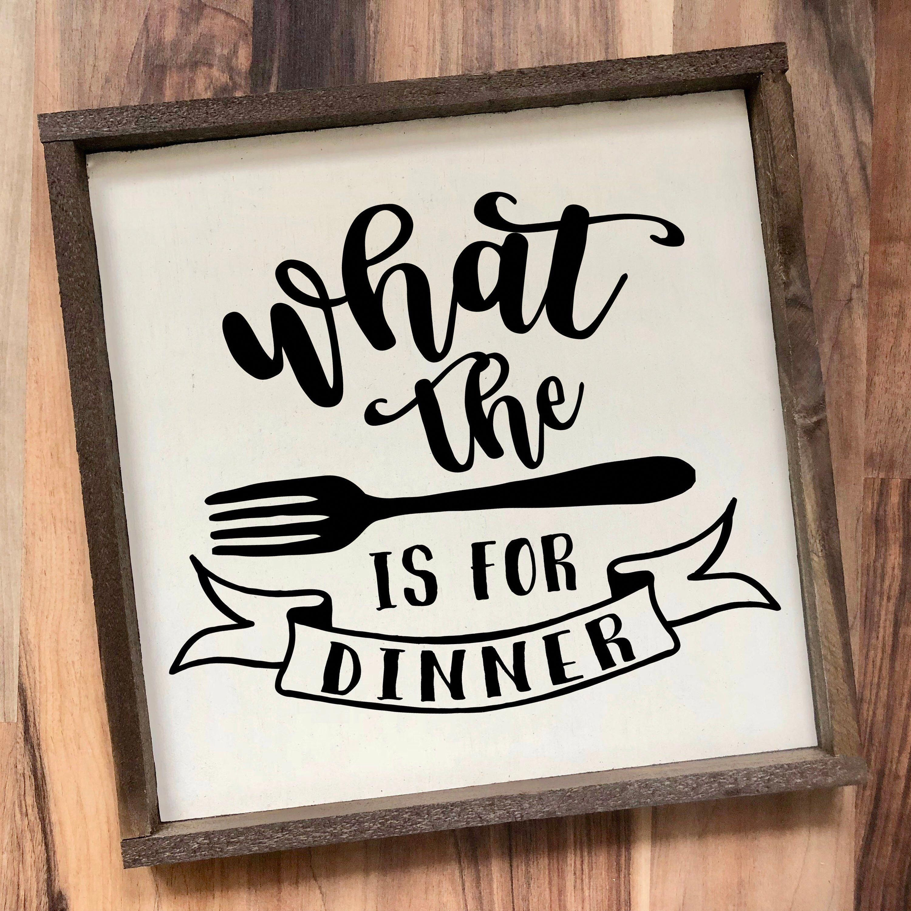What the fork is for dinner funny kitchen sign framed wood | Etsy