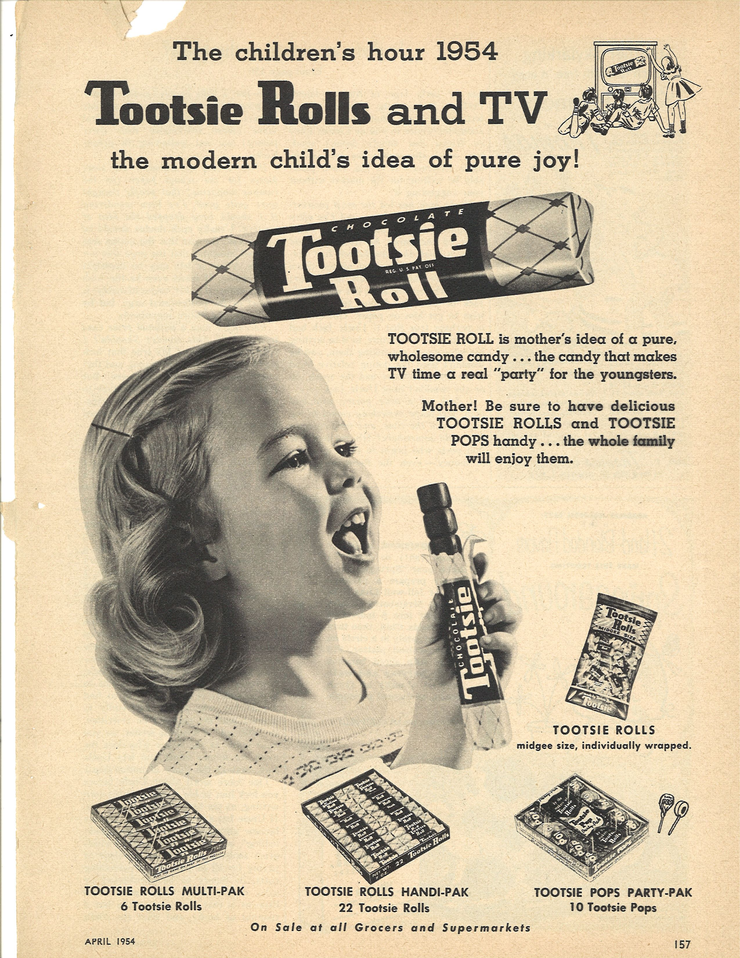 756d4997 Tootsie Roll ad, 1954. Click to satisfy your sweet tooth with more vintage  ads for candy in a retro slideshow.